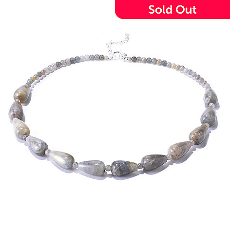 126-257 - Gem Insider™ Sterling Silver 18'' Teardrop Labradorite Necklace