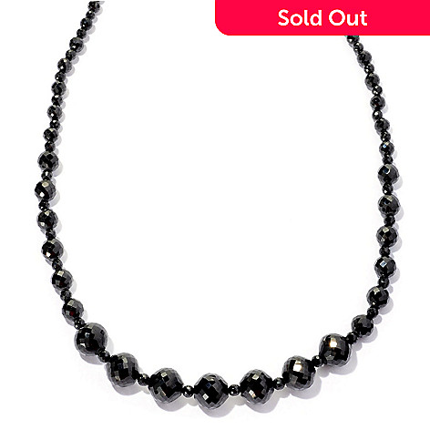 126-259 - Gem Treasures® Sterling Silver Black Spinel Graduated Bead Necklace