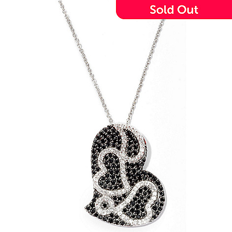 126-261 - Gem Treasures Sterling Silver 2.95ctw Black Spinel & Zircon Heart Pendant