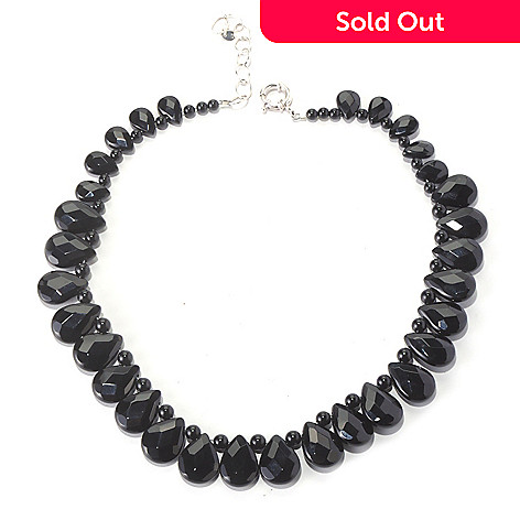 126-267 - Gem Insider Sterling Silver 16'' Black Agate Teardrop Necklace w/ 2'' Extender