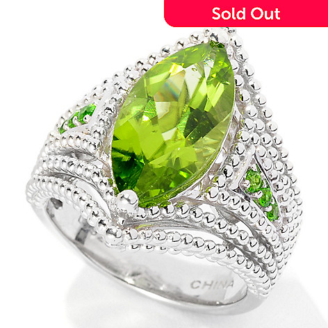 126-268 - Gem Insider Sterling Silver 3.51ctw Marquise Peridot & Chrome Diopside Ring