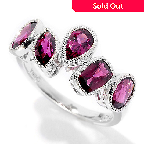 126-270 - Gem Insider Sterling Silver Five-Stone Multi Shape Gemstone Ring