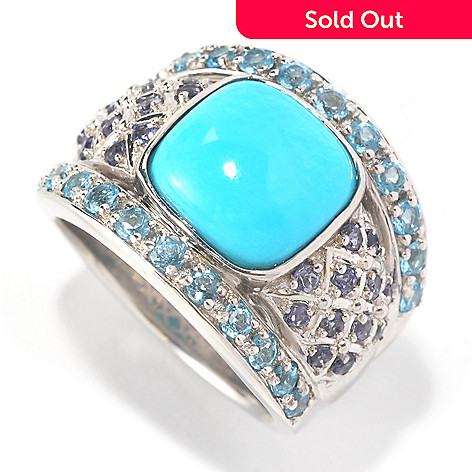126-272 - Gem Insider® Sterling Silver 10mm Sleeping Beauty Turquoise & Multi Gem Ring