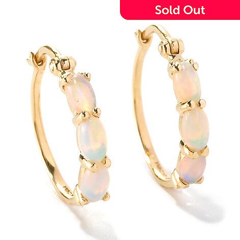 126-274 - Gem Insider™ 14K Gold 5 x 3mm Ethiopian Opal Three-Stone Hoop Earrings