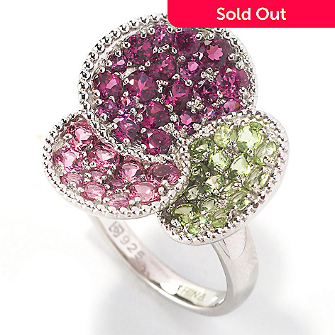 126-275 - Gem Insider Sterling Silver 2.28ctw Multi Gemstone Three-Circle Ring