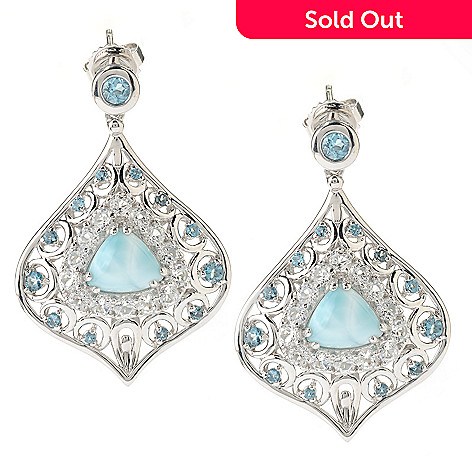 126-278 - Gem Insider™ Sterling Silver 9 x 8mm Larimar & Topaz Drop Earrings