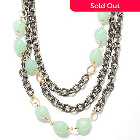 126-280 - mariechavez 20'' Chalcedony Multi Strand Chunky Cable Link Necklace w/ Extender