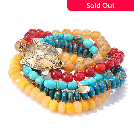126-283 - mariechavez Set of Five 6.5'' Turtle Gemstone Beaded Bracelets