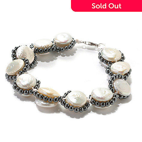 126-298 - Sterling Silver 8'' 11-14mm Coin Shaped Freshwater Cultured Pearl & Hematite Bracelet