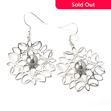 126-300 - Sterling Silver 9-10mm Black Tahitian Cultured Pearl Flower Earrings