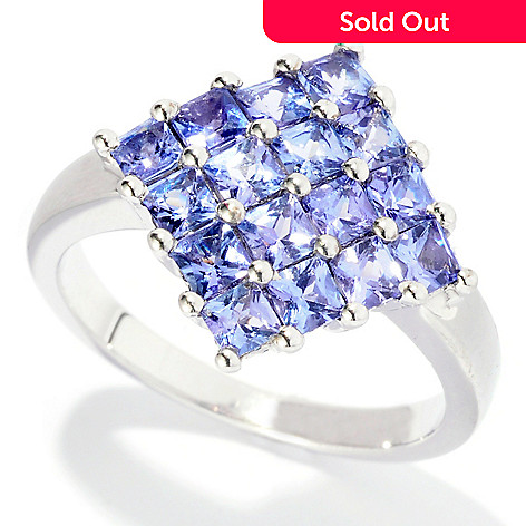 126-345 - Gem Insider Sterling Silver 1.25ctw Princess Cut Tanzanite Ring