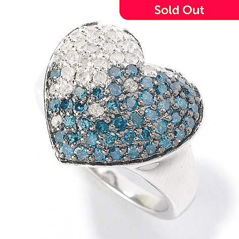 126-351 - Sterling Silver 1.00ctw Blue & White Diamond Heart Ring
