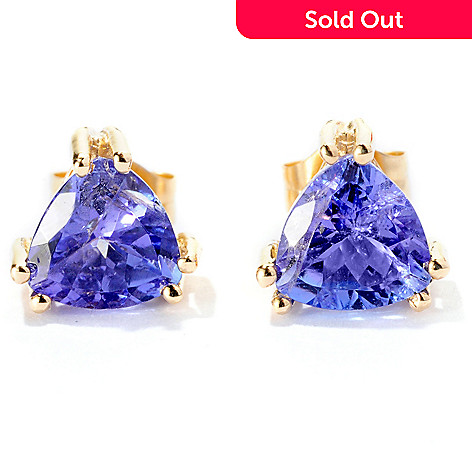 126-352 - Gem Treasures 14K Gold 1.50ctw Trillion Shaped Tanzanite Stud Earrings