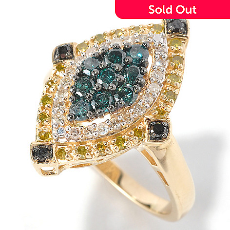 126-360 - Diamond Treasures 14K Gold 1.00ctw Multi Color Diamond Marquise Ring