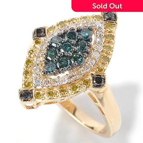 126-360 - Diamond Treasures® 14K Gold 1.00ctw Multi Color Diamond Marquise Ring