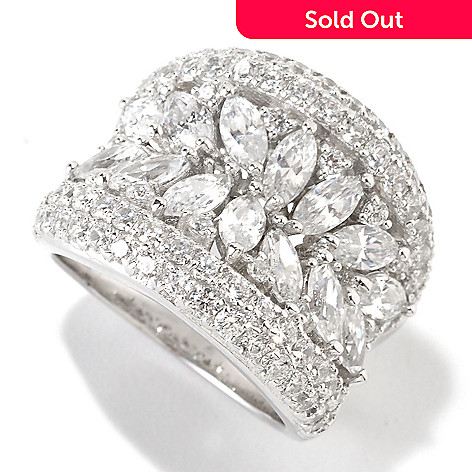 126-363 - Charlie Lapson® Platinum Embraced™ 3.33 DEW Marquise Simulated Diamond Concave Ring