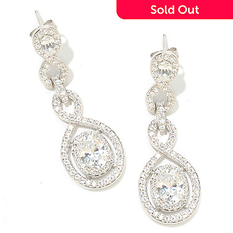 126-364 - Charlie Lapson for Brilliante® Platinum Embraced™ 4.49 DEW  Oval Cut Halo Drop Earrings
