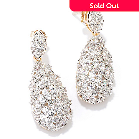 126-366 - Charlie Lapson for Brilliante® 7.64 DEW Round Cut Pave & Channel Set Teardrop Earrings