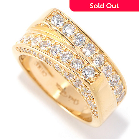 126-370 - Sonia Bitton 1.32 DEW Polished Round Cut Pave Set Simulated Diamond Geometric Ring