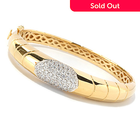 126-372 - Sonia Bitton for Brilliante® 2.16 DEW Pave Set Polished Hinged Bangle Bracelet