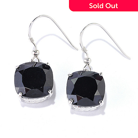126-373 - Gem Treasures® Sterling Silver 12mm Cushion Cut Black Spinel Dangle Earrings