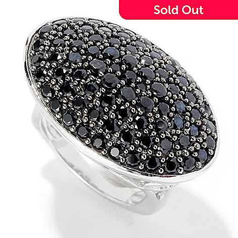 126-375 - Gem Treasures Sterling Silver 3.16ctw Black Spinel East-West Oval Ring