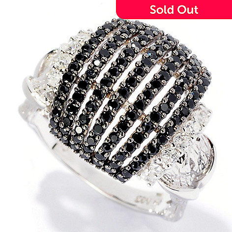 126-382 - Gem Treasures Sterling Silver 1.72ctw Black Spinel & White Zircon Dome Ring