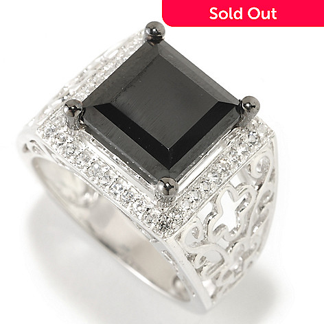 126-383 - Gem Treasures® Sterling Silver 10mm Black Spinel & White Topaz Square Wide Ring