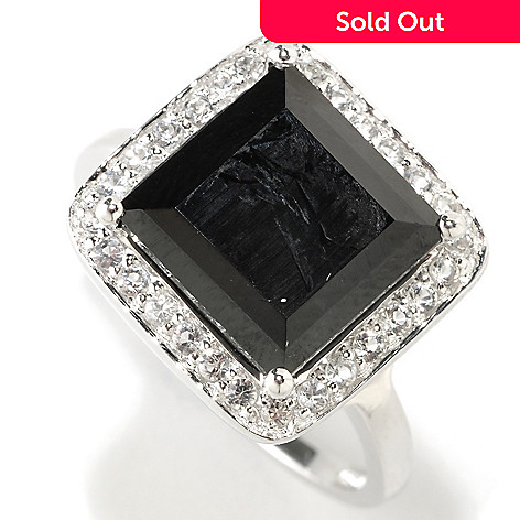 126-388 - Gem Treasures Sterling Silver 10mm Black Spinel & White Topaz Square Ring