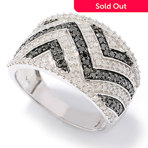 126-391 - Diamond Treasures Sterling Silver 0.76ctw Black & White Diamond Zigzag Ring