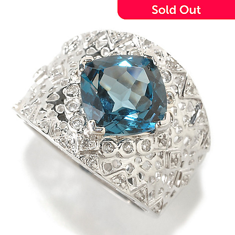126-393 - Gem Insider Sterling Silver 4.80ctw Cushion Cut Blue & White Topaz Ring