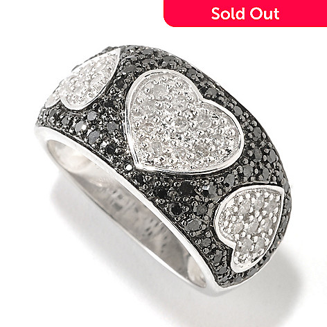 126-396 - Diamond Treasures® Sterling Silver 0.75ctw Black & White Diamond Heart Ring