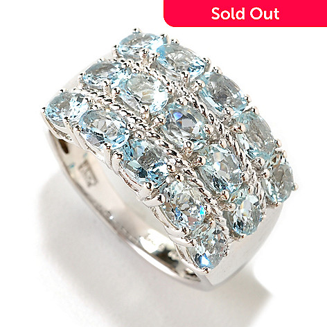 126-398 - Gem Treasures® Sterling Silver 2.18ctw Aquamarine Three-Row Ring