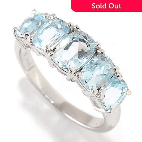 126-404 - Gem Treasures 14K White Gold 2.38ctw Aquamarine Five-Stone Ring