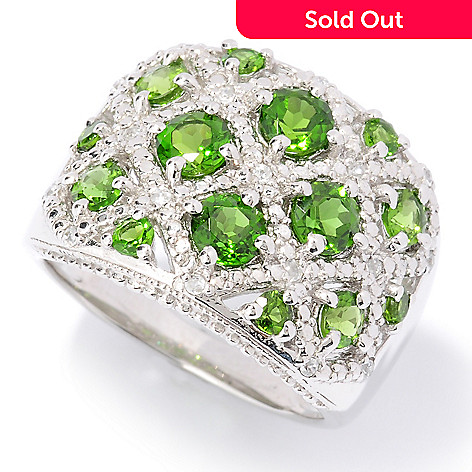 126-405 - Gem Treasures® Sterling Silver 2.12ctw Chrome Diopside & White Zircon Ring