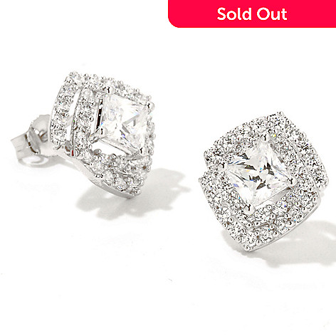 126-413 - Brilliante® Platinum Embraced™ 2.08 DEW Princess Cut Simulated Diamond Halo Stud Earrings