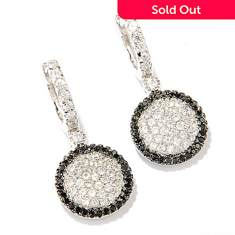 126-415 - Brilliante® Platinum Embraced™ 1.46 DEW Black & White Pave Disk Drop Earrings