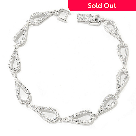 126-416 - Brilliante® Platinum Embraced™ Teardrop Shaped Simulated Diamond Line Bracelet