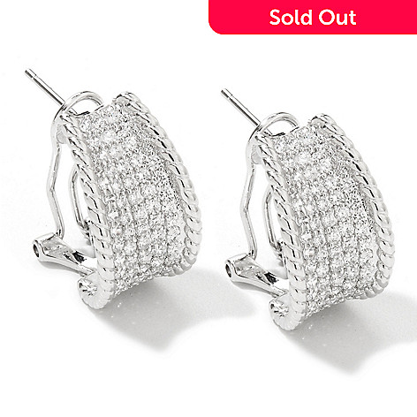 126-428 - Brilliante® Platinum Embraced™ 1.26 DEW Pave Set J Hoop Earrings