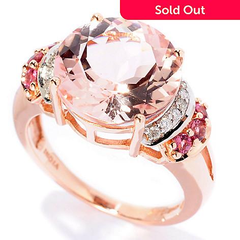 126-432 - Gem Treasures 14K Rose Gold 5.34ctw Morganite, Pink Tourmaline & Diamond Ring