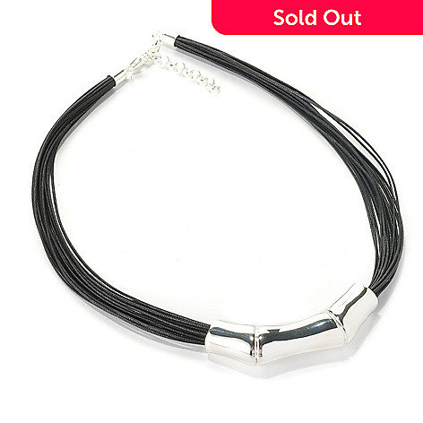 126-446 - SempreSilver™ 18'' Electroform Polished Multi Strand Slide Necklace w/ Extender