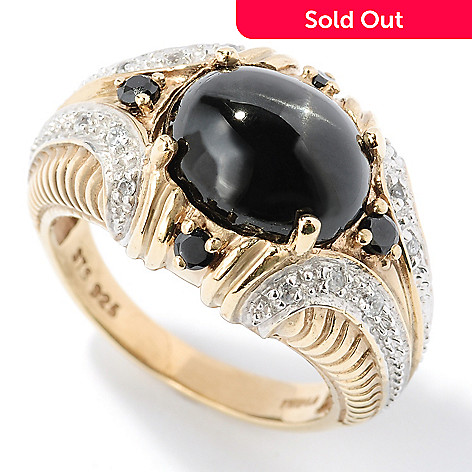 126-454 - NYC II Black Star Diopside, Black Spinel & White Zircon Ring