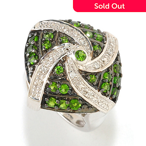 126-455 - NYC II Chrome Diopside & White Zircon Accent Swirl Dome Ring