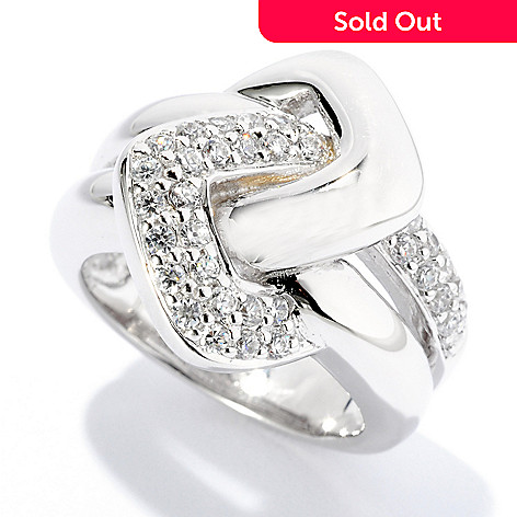 126-457 - Sonia Bitton Round Pave Set Simulated Diamond Interlocking Ring