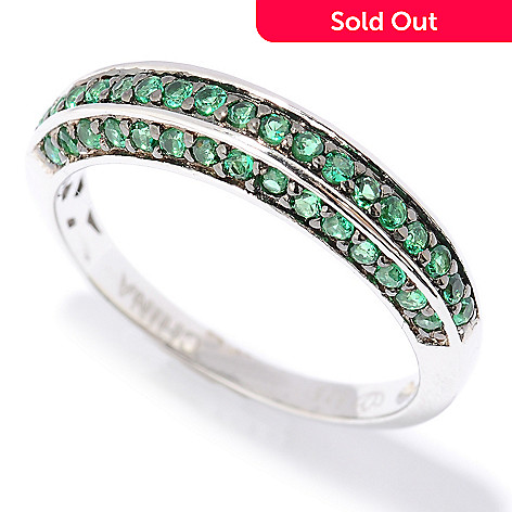 126-458 - Brilliante® Platinum Embraced™ Pave Set Simulated Diamond Half-Band Ring