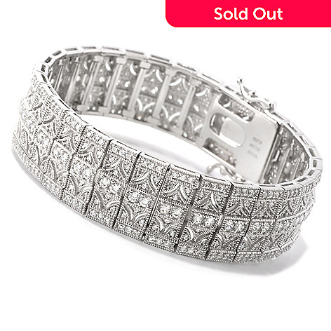 126-459 - Charlie Lapson for Brilliante® Platinum Embraced™ Round Milgrain Line Bracelet