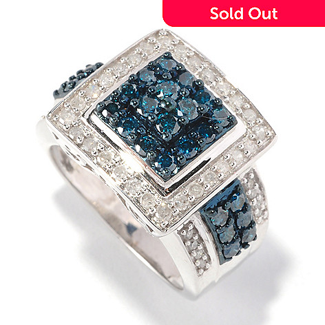 126-464 - Diamond Treasures Sterling Silver 1.25ctw Blue & White Diamond Square Ring