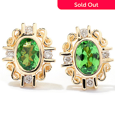 126-473 - Gem Treasures 14K Gold Gemstone & Diamond Oval Stud Earrings