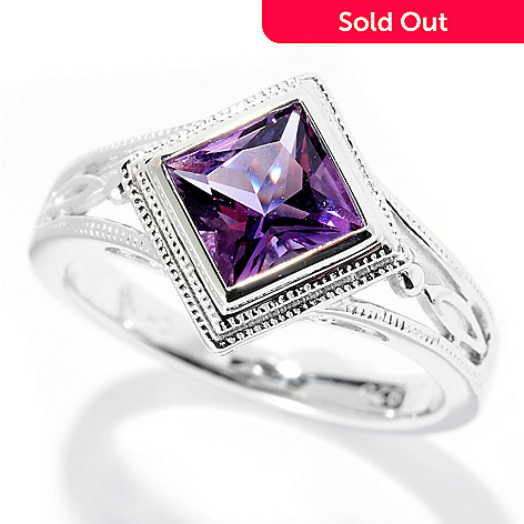 126-481 - Gem Insider Sterling Silver 6mm Princess Cut Gemstone Ring