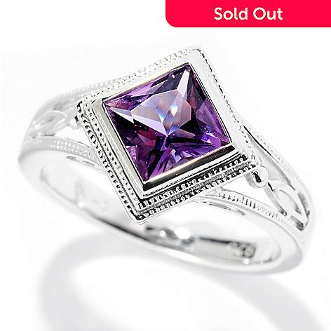 126-481 - Gem Insider® Sterling Silver 6mm Princess Cut Gemstone Ring